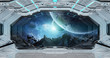 White clean spaceship interior with view on planet Earth 3D rendering