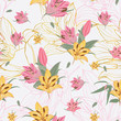Vector yellow & pink Lilium flowers with golden flower stripes background seamless repeat pattern. great for retro fabric, wallpaper, scrapbooking projects. Surface pattern design. - 237690177