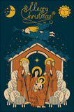 Vector illustration on the theme of Christmas and New Year in flat style. Holy Family and Christmas angel. Christmas Nativity scene. Adoration of the Magi