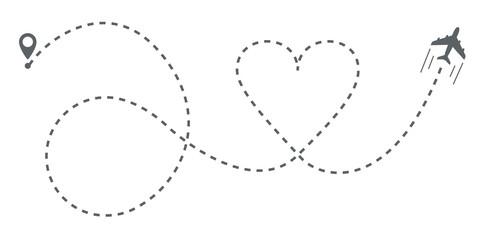 Airplane heart shaped line path