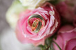 Close up with beautiful flowers and rings