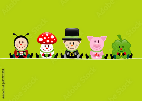 Ladybeetle, Fly Agaric, Chimney Sweeper, Pig & Cloverleaf Green - 237712974