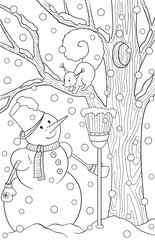 New year and Christmas theme. Black and white graphic doodle hand drawn sketch for adult coloring book. Winter landscape with pine, snow, snowmen and squirrel. © juliasnegi