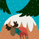 Winter  illustration with moose