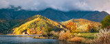 Landscape View from Koumi Park in autumn on the shore of Lake Kawaguchi -Mt Fuji, Japan.