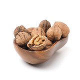 Organic French walnuts in a wooden bowl - 237726312