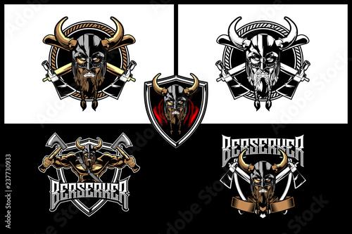 Viking Warrior With Cross Axe Collection Logo Vector Template