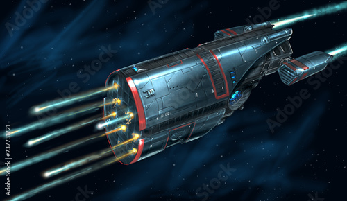 Concept art digital painting or illustration of movie or computer game style of sci-fi or science fiction spaceship in space battle attacking using torpedoes or rockets. © Zdenek Sasek