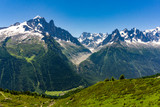 Alpine peaks of the Mont Blanc massif in June.
