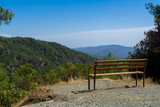 Picture of wooden bench in the mountains