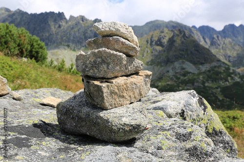 balanced stones in mountains - 237748177