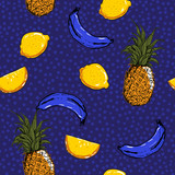 Trendy and fresh hand sketch summer fruits lemon,pineapple,banana,seamless pattern vector layer on painting  polka dots for fashion fabric and all prints