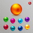 Vector Set of multicolored decorative dimensional spheres
