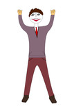 Man with cheering pose, 3d illustration - 237756337
