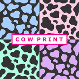 Seamless pattern set with colorful cow spots