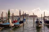 Venice, gondola on the background of the city