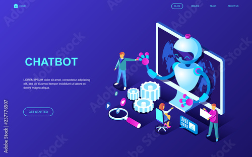 Modern flat design isometric concept of Chat Bot and Marketing decorated people character for website and mobile website development. Isometric landing page template. Vector illustration. - 237776507