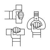 Proper hand position in public transport line sign