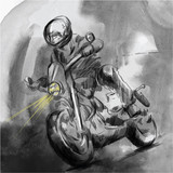 On the highway, motorcycle rider - An hand drawn vector illustration - Digital painting