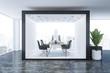 Leinwanddruck Bild - Black and white office interior