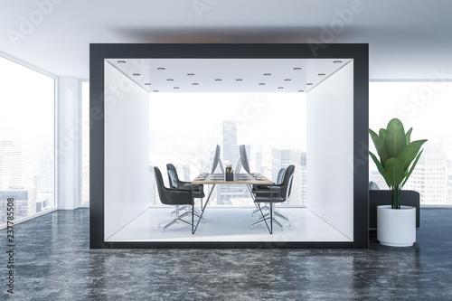 Leinwanddruck Bild Black and white office interior