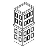 Company building isometric black and white - 237788194