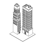 Company buildings isometric black and white - 237788320
