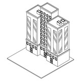 Company building isometric black and white - 237788335