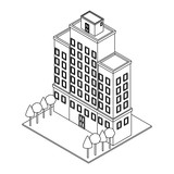 Company building isometric black and white - 237788353