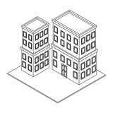 Company buildings isometric black and white - 237788518