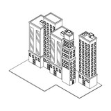 Company buildings isometric black and white - 237788597