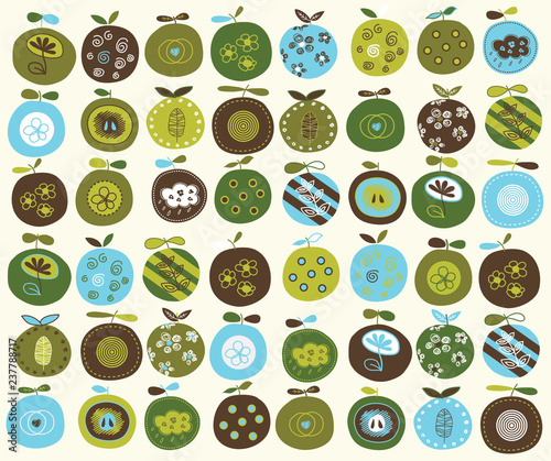 Modern seamless pattern. Apple juicy fruits leaves and flowers on  background.  - 237788717