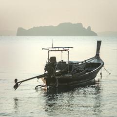 Traditional long tail boat at koh Hong island