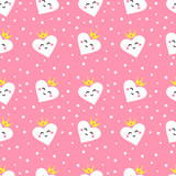 Seamless pattern with cute hearts princess. Ornament for children's textiles and wrapping. Flat style. Vector - 237803344
