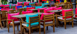 Colored pillow chairs from restaurant - 237804500