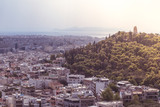 Panoramic aerial view of the city of Athens and Acropolis in Greece
