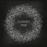 Summer floral background in the form of a wreath of cornflowers and leaves drawn by hand on the black unclean chalkboard. For the design of postcards, brochures, flyers. Coloring page.