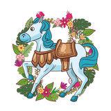 Cute horse with saddle