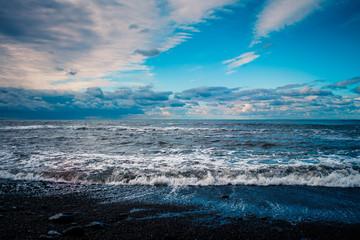 blue sea and cloudy sky waves © EwaStudio