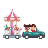 smiling kids driving car