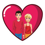 young couple cartoon