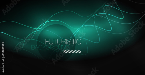 Neon lines wave background. Abstract composition