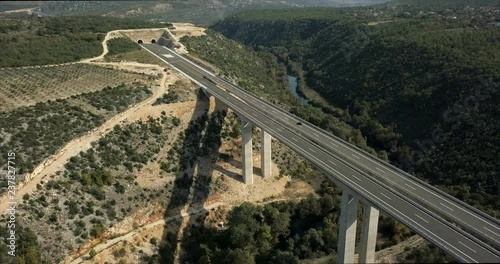 Fototapeta Aerial footage of a highway bridge in Bosnia and Herzegovina.
