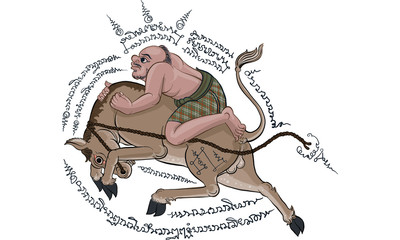 man riding horse in Thai traditional painting © Bhanupong