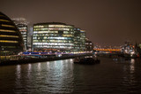 City hall and other official commercial buildings on river thames