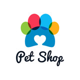 pet shop logo. Pet paw with heart on white background