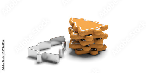 Christmas tree shaped gingerbread cookies and cutter, isolated, white background