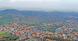 Residential areas at the foot of the mountains in the Republic of San Marino in Italy