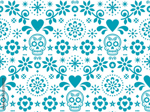 Sugar Skull Vector Seamless Pattern Inspired By Mexican Folk Art