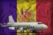 bomber on the Andorra state flag background. 3d Illustration